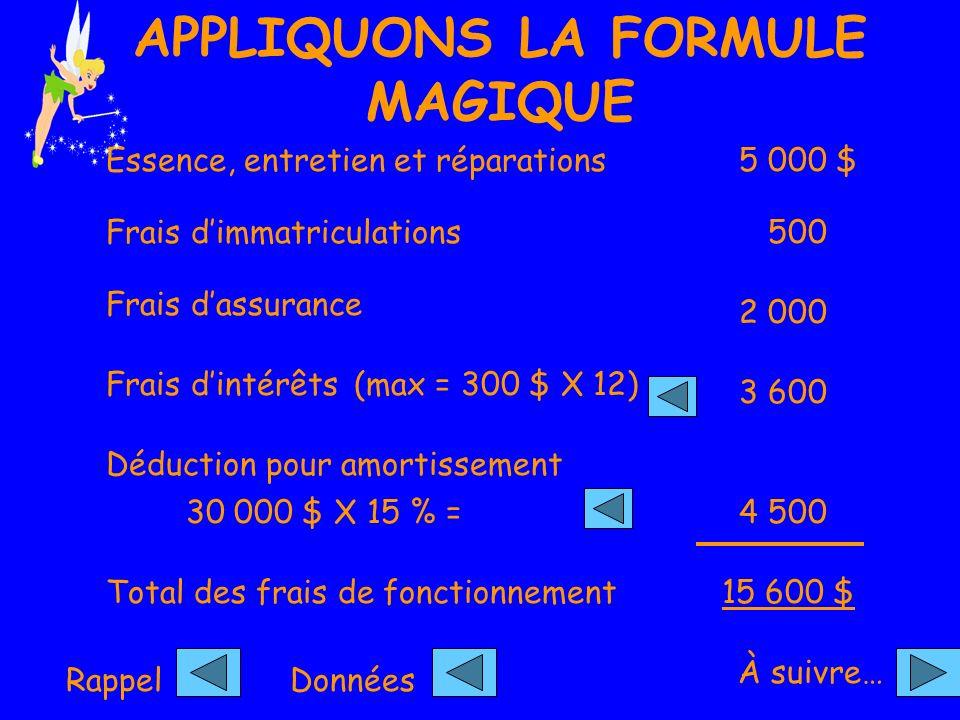 APPLIQUONS LA FORMULE MAGIQUE