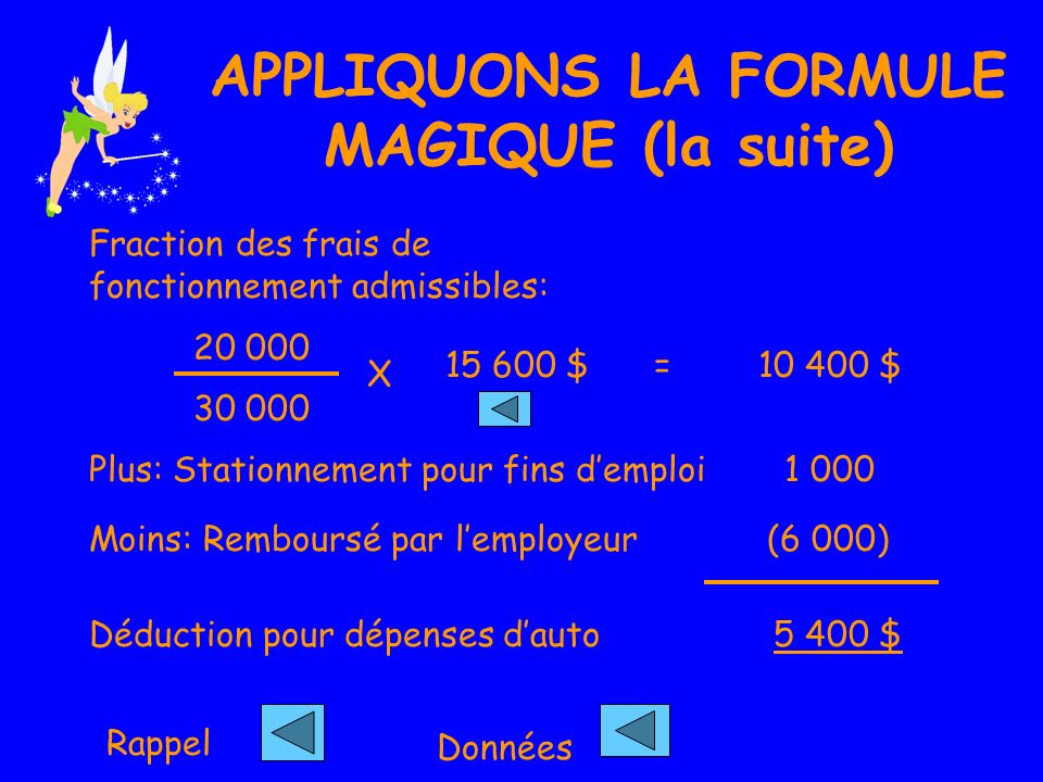 APPLIQUONS LA FORMULE MAGIQUE (la suite)