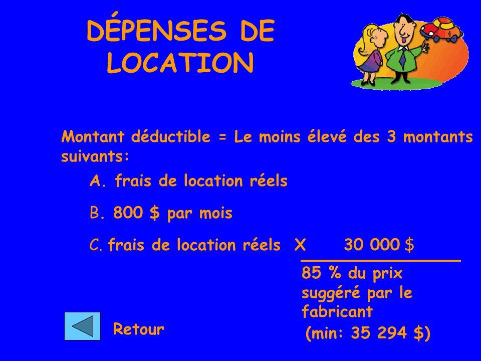 DÉPENSES DE LOCATION Montant déductible = Le moins élevé des 3 montants suivants: A. frais de location réels.