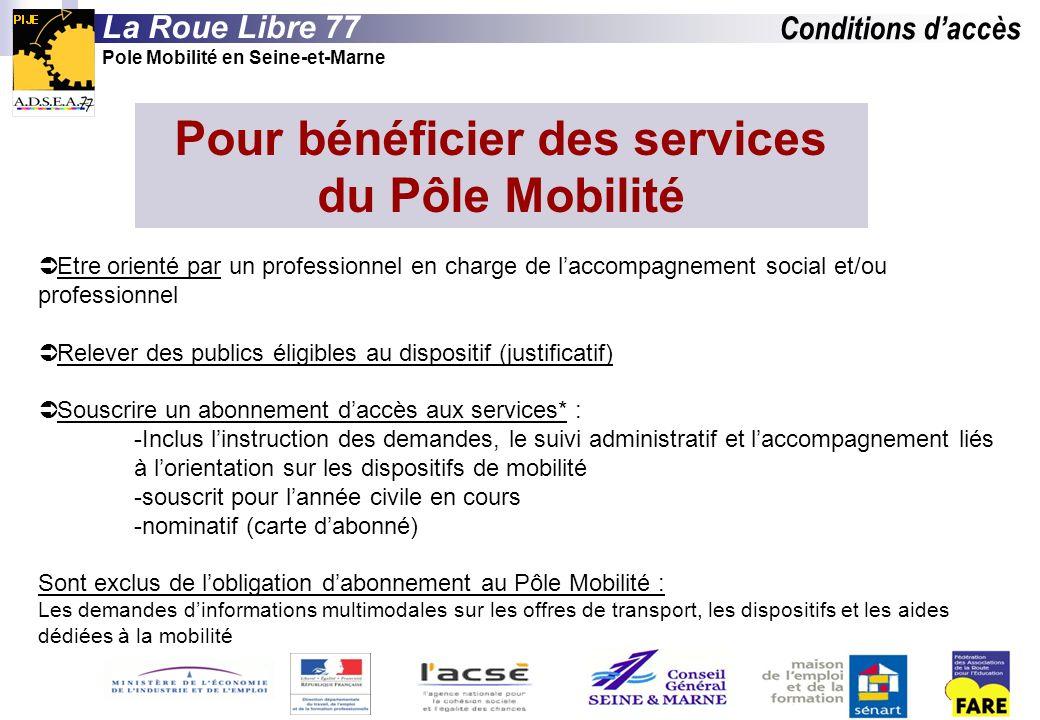 Pour bénéficier des services du Pôle Mobilité