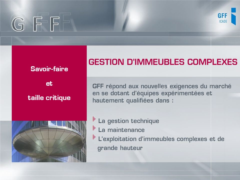 GESTION D'IMMEUBLES COMPLEXES