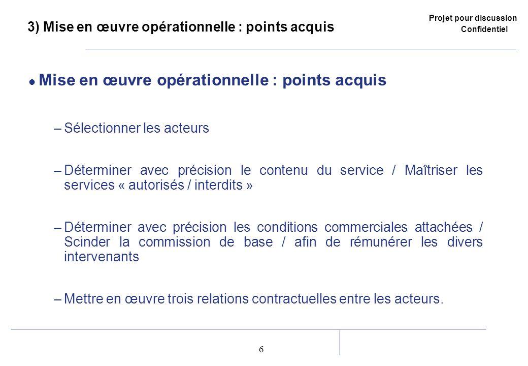 3) Mise en œuvre opérationnelle : points acquis