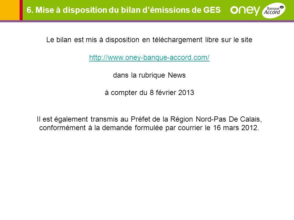 6. Mise à disposition du bilan d'émissions de GES