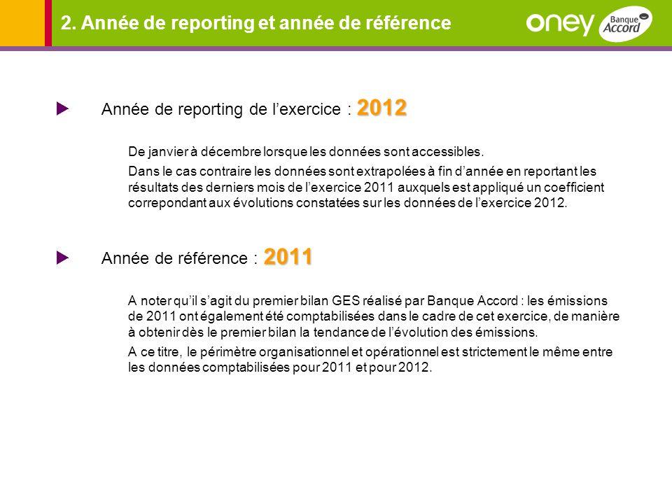 2. Année de reporting et année de référence