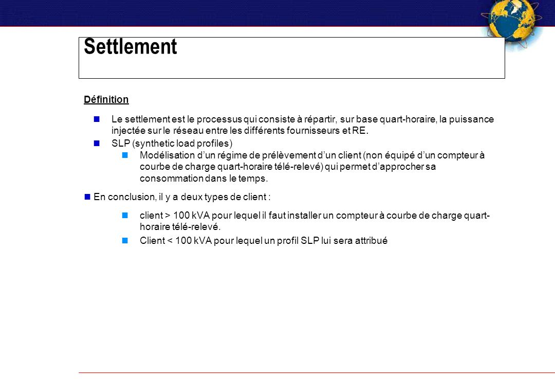 Settlement Définition