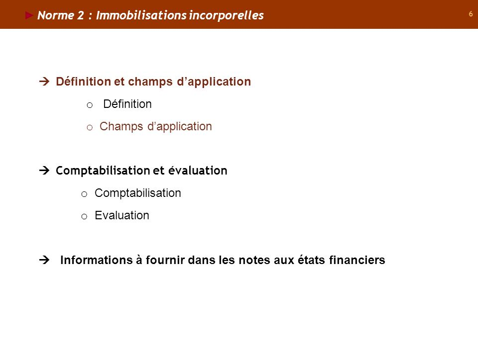 Norme 2 : Immobilisations incorporelles