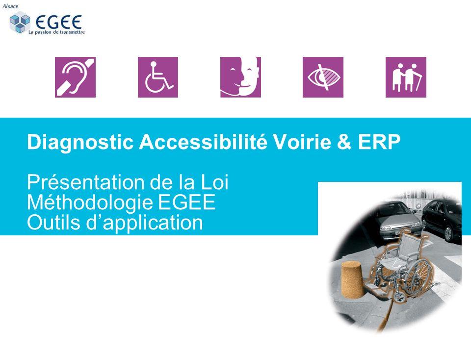 Diagnostic Accessibilité Voirie & ERP Présentation de la Loi Méthodologie EGEE Outils d'application