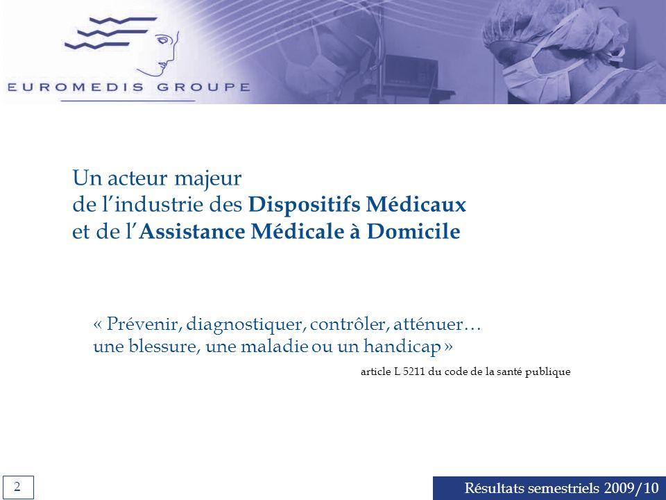Un acteur majeur de l'industrie des Dispositifs Médicaux et de l'Assistance Médicale à Domicile