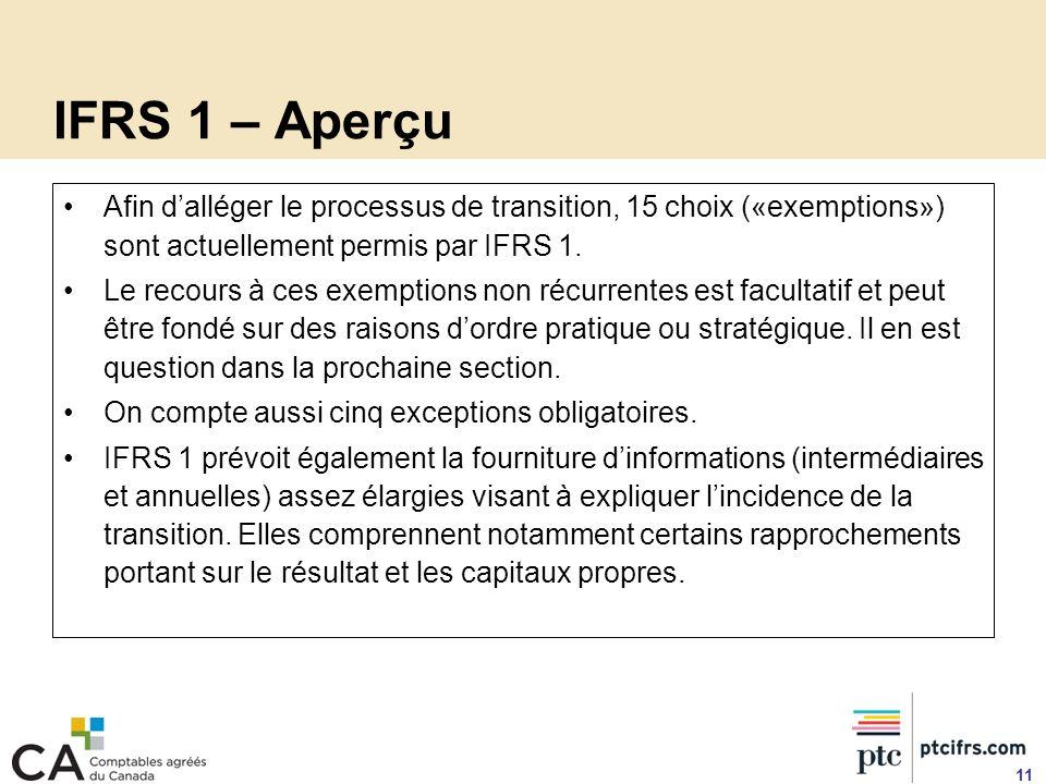 IFRS 1 – Aperçu Afin d'alléger le processus de transition, 15 choix («exemptions») sont actuellement permis par IFRS 1.