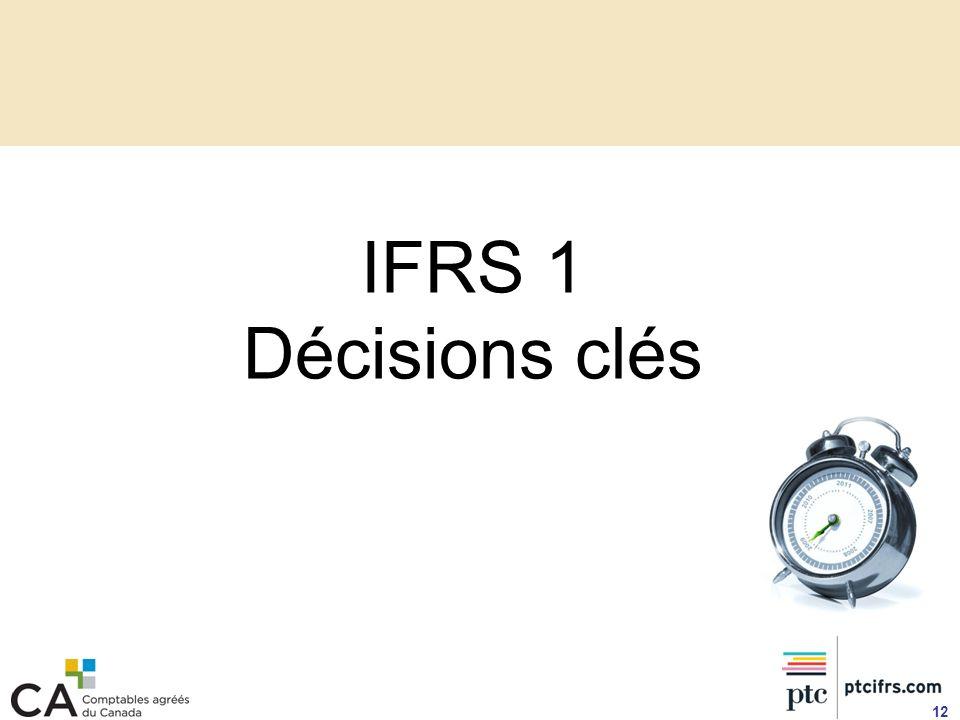 IFRS 1 Décisions clés 12
