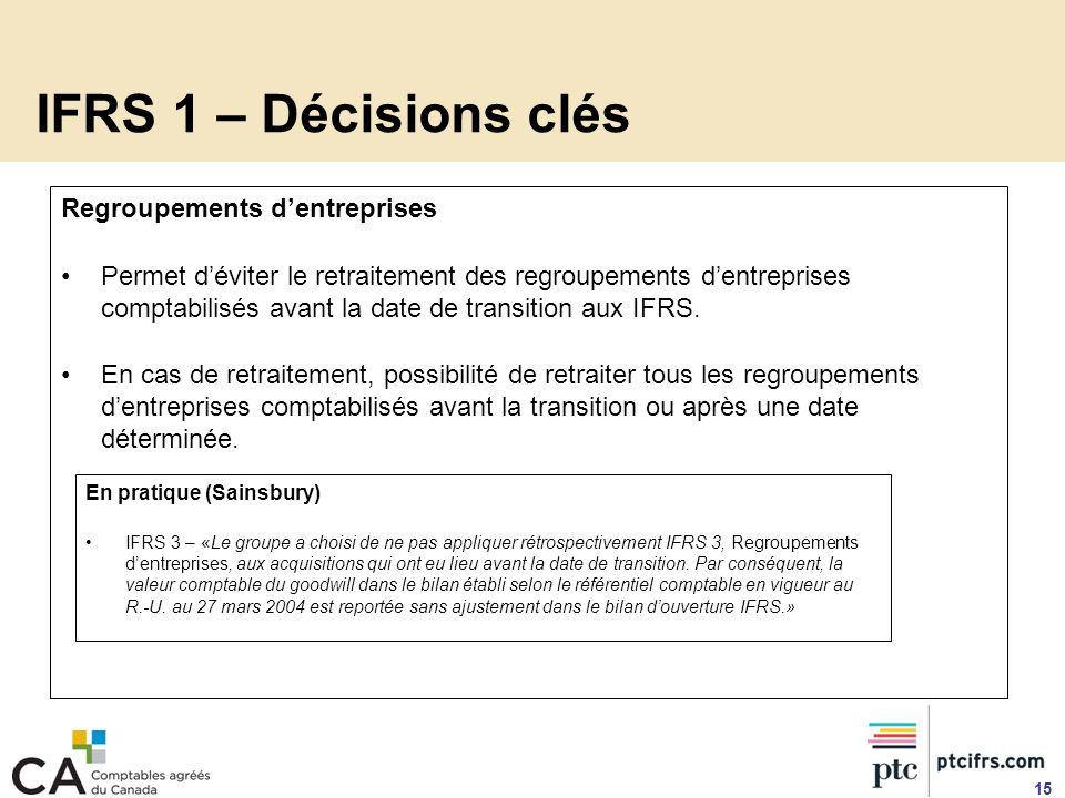 IFRS 1 – Décisions clés Regroupements d'entreprises