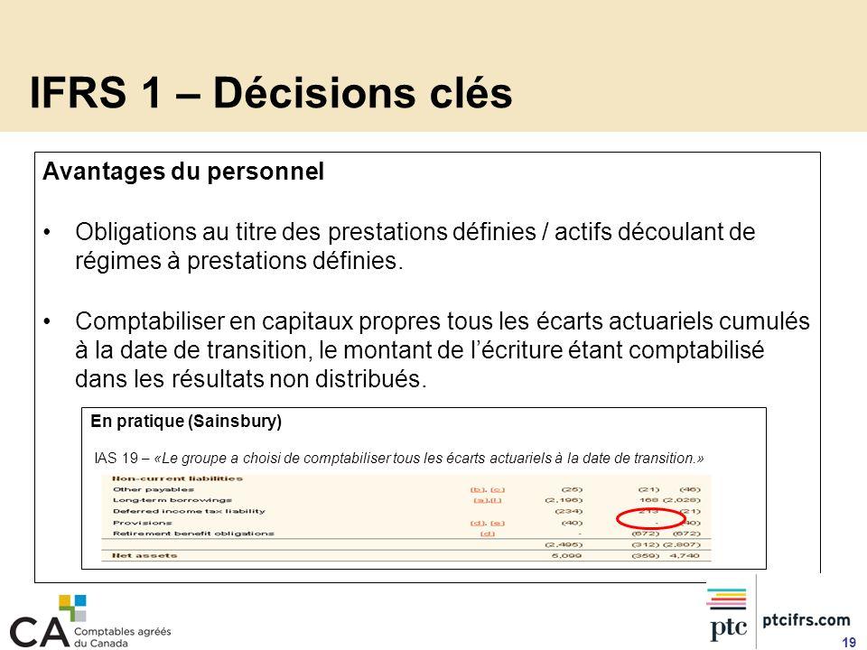 IFRS 1 – Décisions clés Avantages du personnel