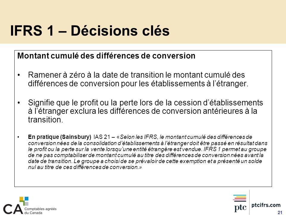 IFRS 1 – Décisions clés Montant cumulé des différences de conversion