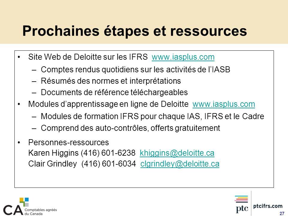 Prochaines étapes et ressources