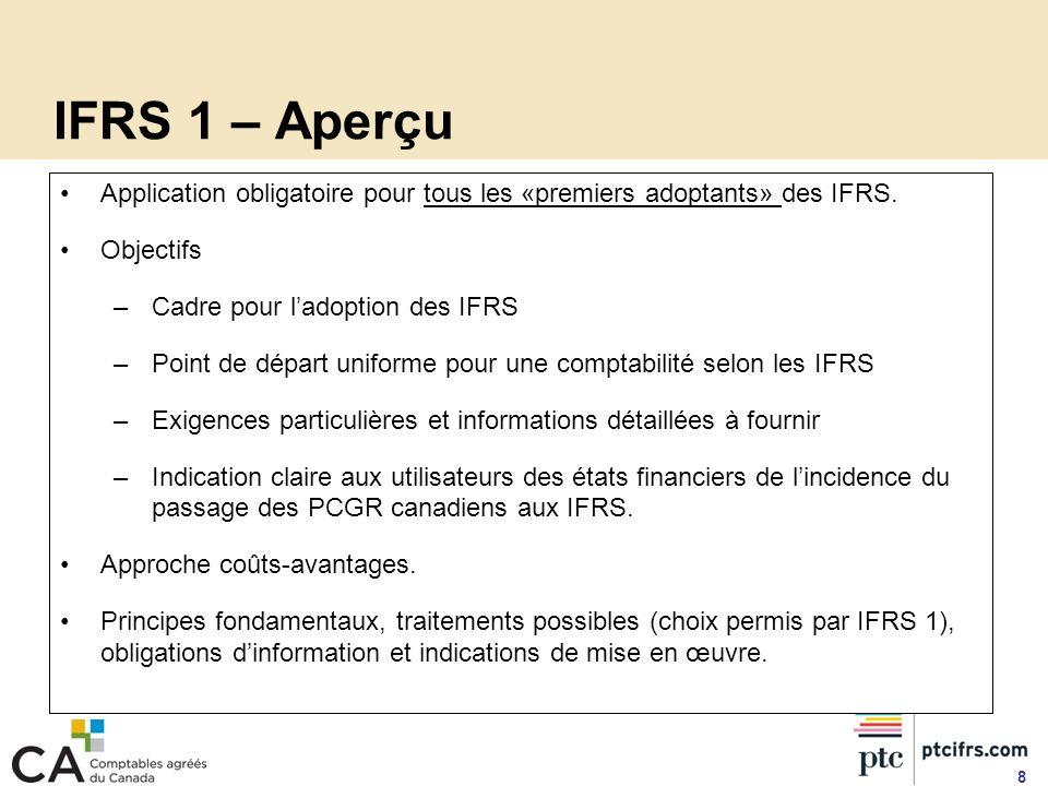 IFRS 1 – Aperçu Application obligatoire pour tous les «premiers adoptants» des IFRS. Objectifs. Cadre pour l'adoption des IFRS.