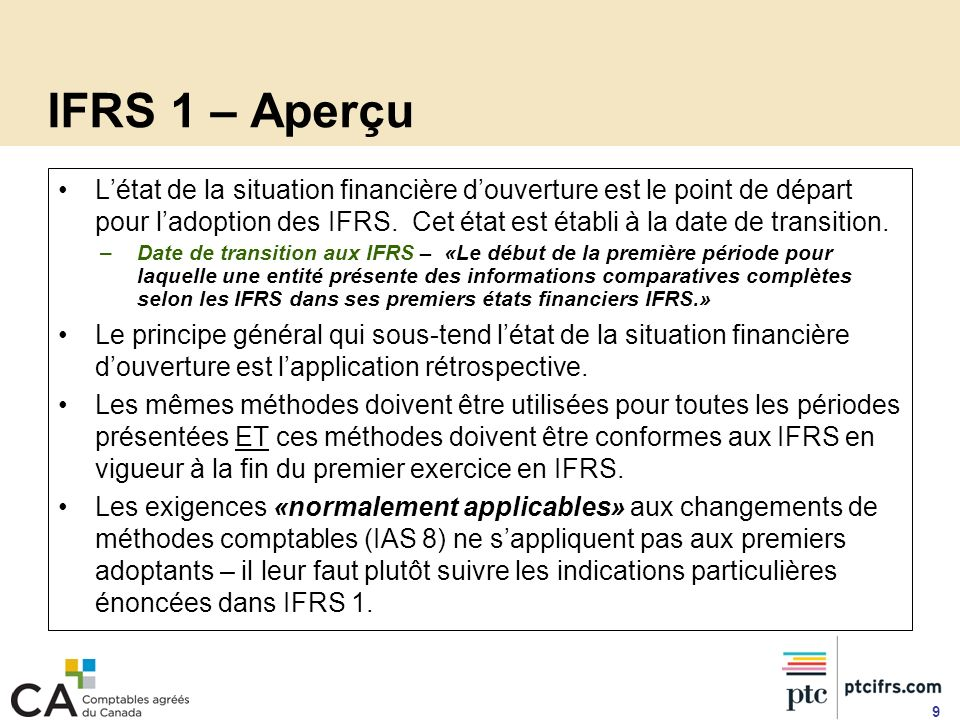 IFRS 1 – Aperçu