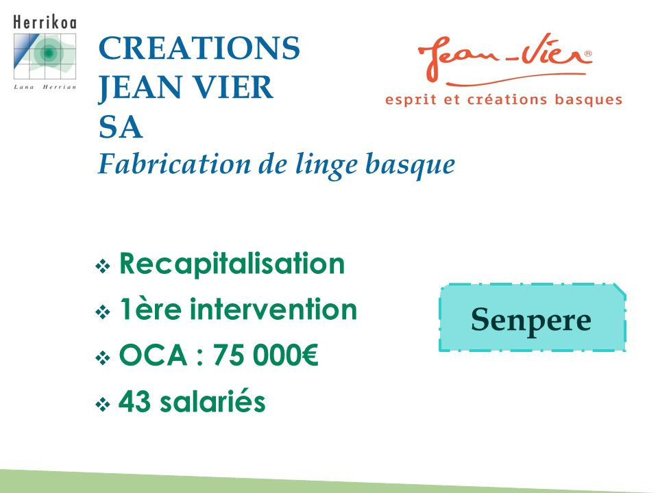 CREATIONS JEAN VIER SA Senpere Fabrication de linge basque