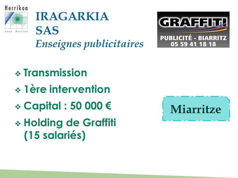 IRAGARKIA SAS Miarritze Enseignes publicitaires Transmission