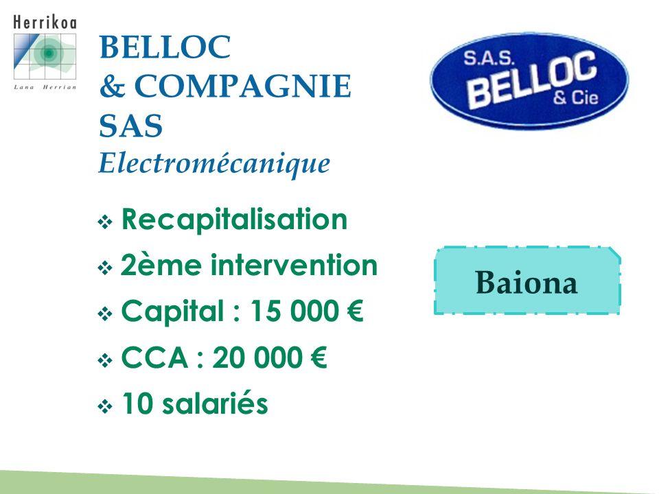 BELLOC & COMPAGNIE SAS Baiona Electromécanique Recapitalisation