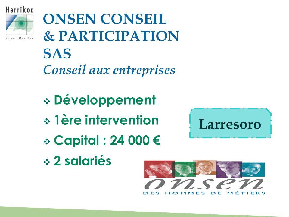 ONSEN CONSEIL & PARTICIPATION SAS Larresoro Conseil aux entreprises