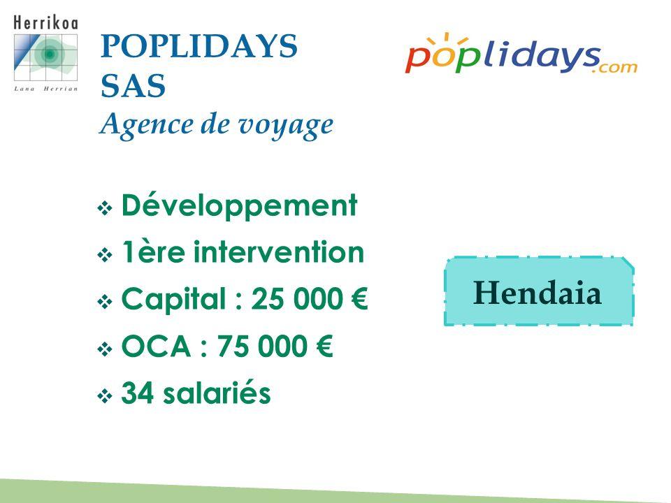 POPLIDAYS SAS Hendaia Agence de voyage Développement 1ère intervention