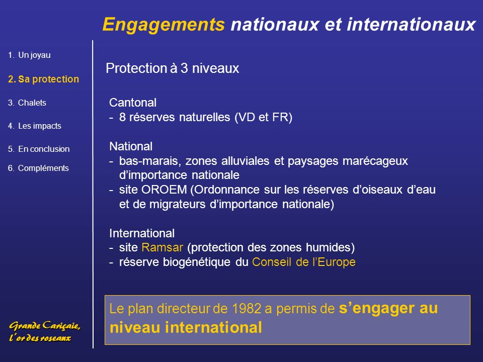Engagements nationaux et internationaux