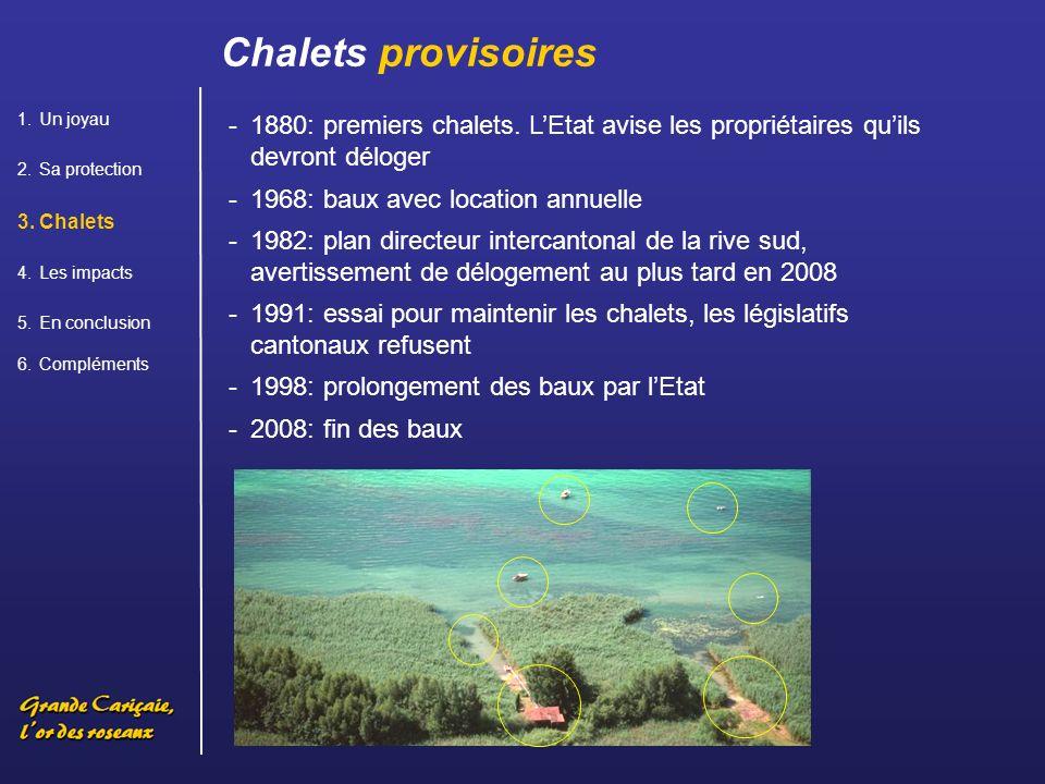 Chalets provisoires Un joyau. Sa protection. Chalets. Les impacts. En conclusion. Compléments.