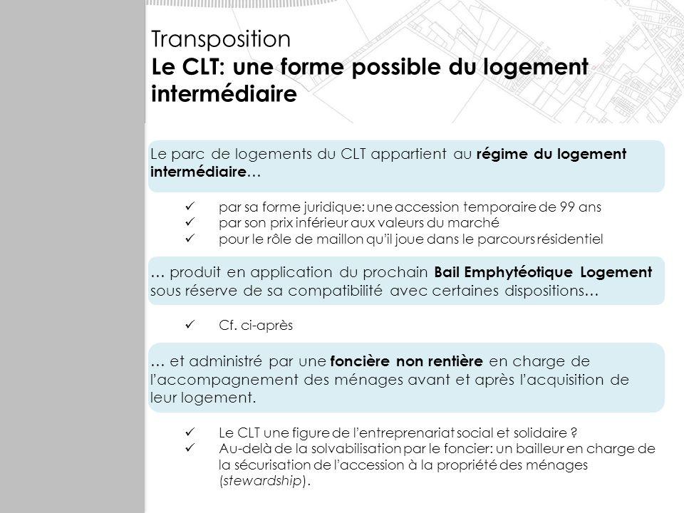 Le CLT: une forme possible du logement intermédiaire