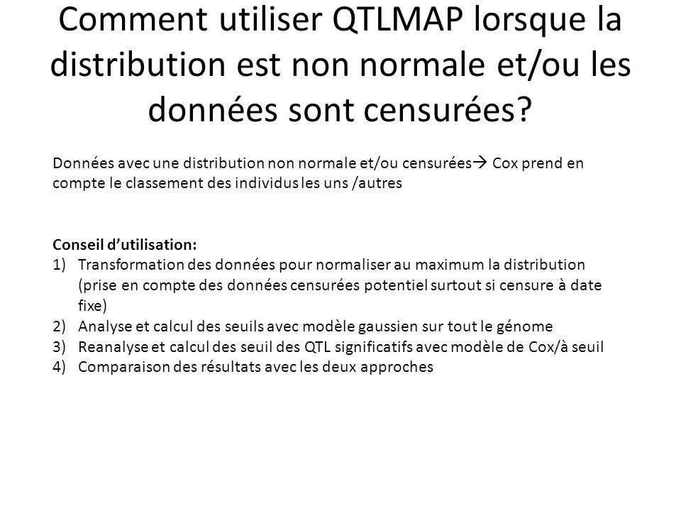Comment utiliser QTLMAP lorsque la distribution est non normale et/ou les données sont censurées