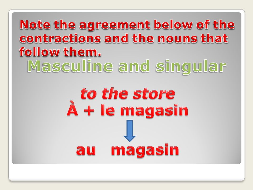 Masculine and singular to the store À + le magasin au magasin