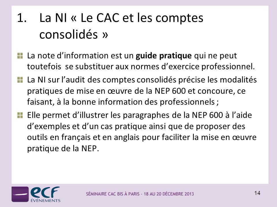 La NI « Le CAC et les comptes consolidés »