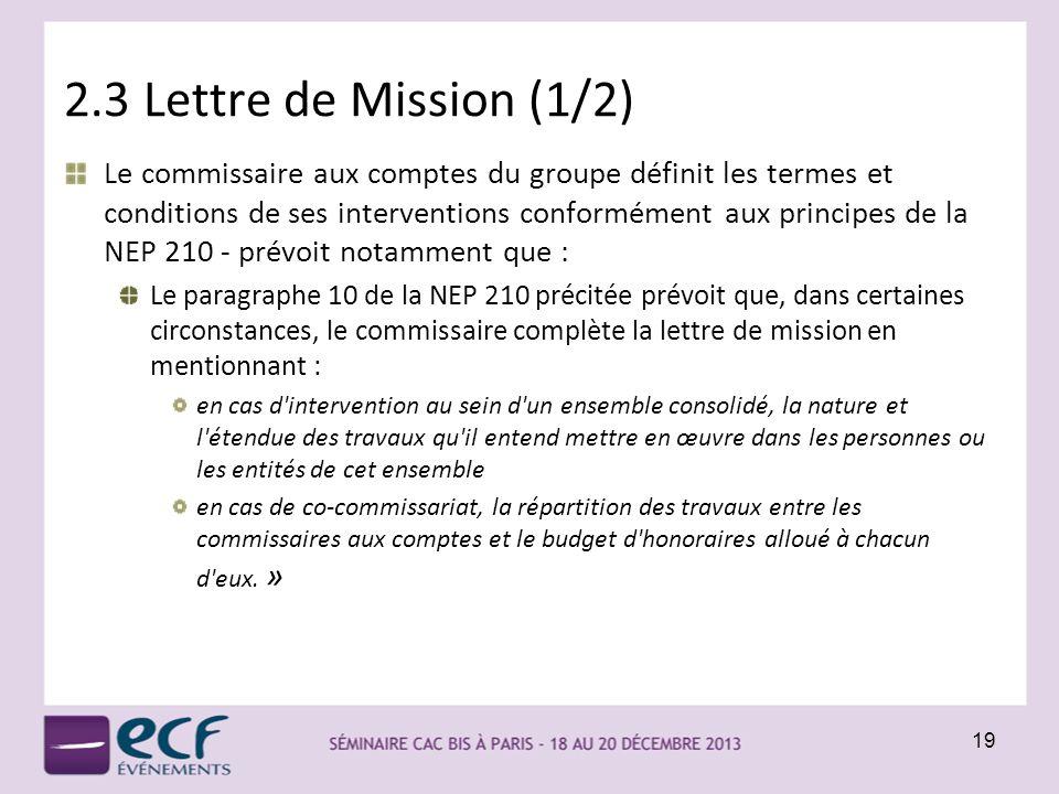 2.3 Lettre de Mission (1/2)