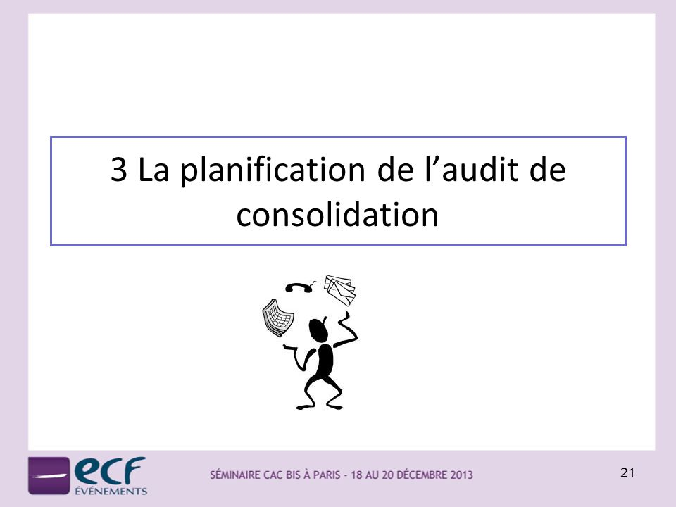 3 La planification de l'audit de consolidation