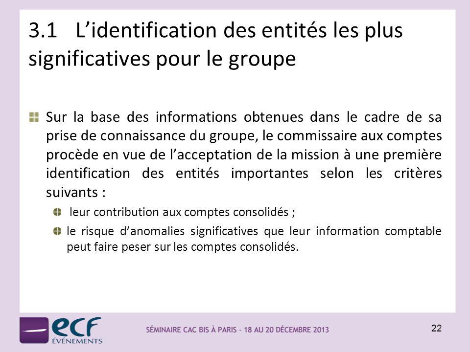 3.1 L'identification des entités les plus significatives pour le groupe
