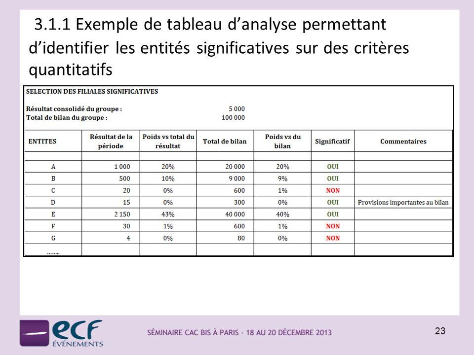 3.1.1 Exemple de tableau d'analyse permettant d'identifier les entités significatives sur des critères quantitatifs