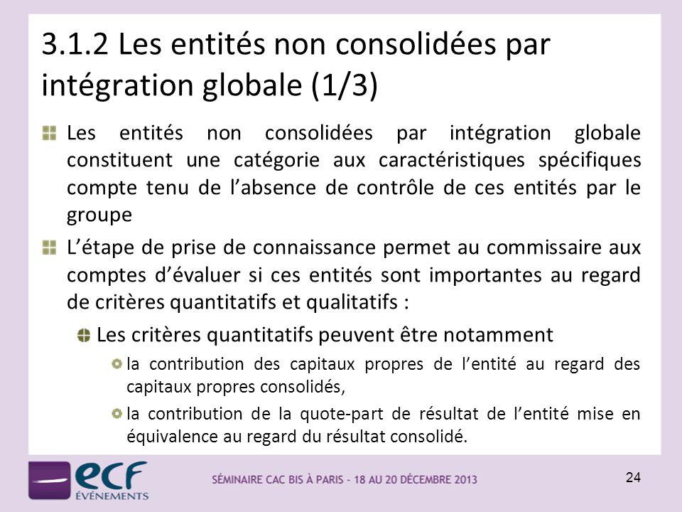 3.1.2 Les entités non consolidées par intégration globale (1/3)