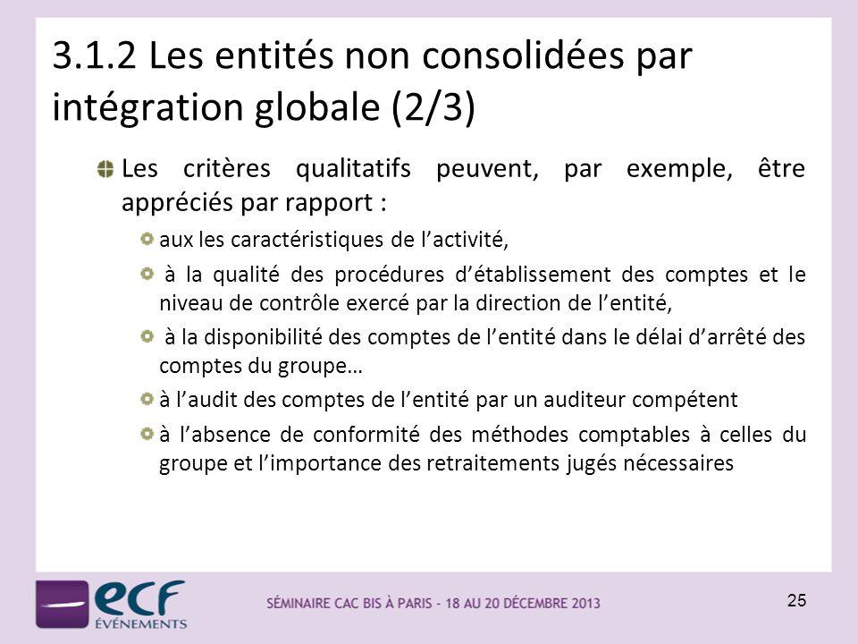 3.1.2 Les entités non consolidées par intégration globale (2/3)