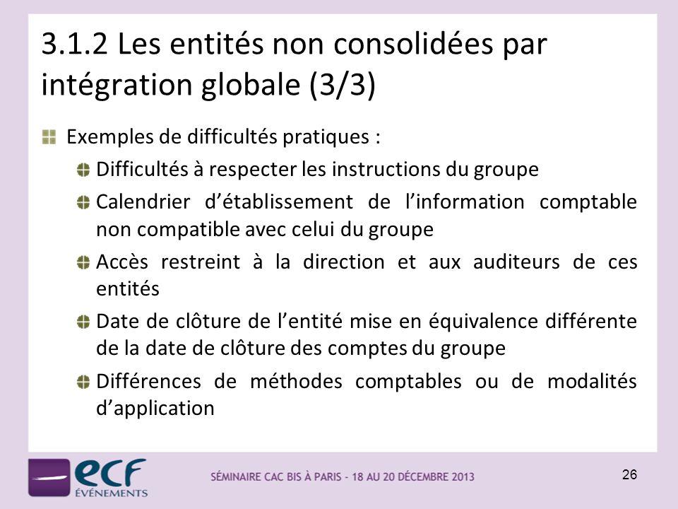 3.1.2 Les entités non consolidées par intégration globale (3/3)