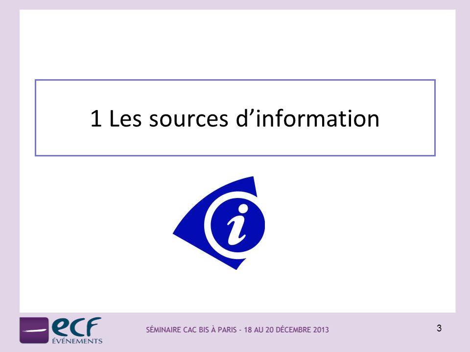 1 Les sources d'information