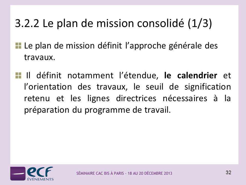 3.2.2 Le plan de mission consolidé (1/3)