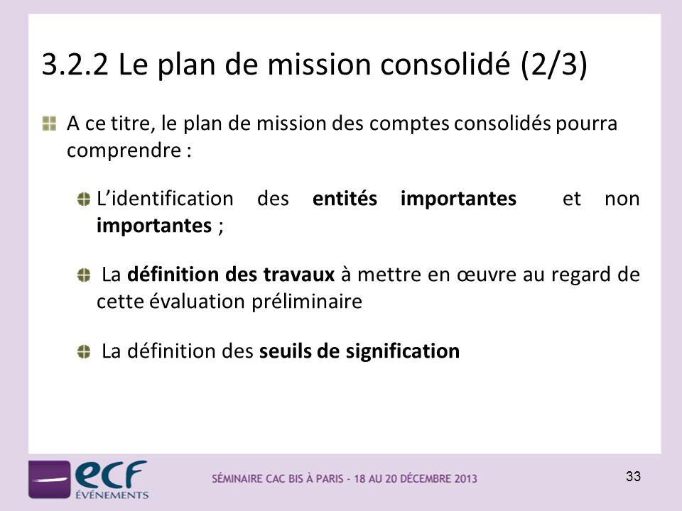 3.2.2 Le plan de mission consolidé (2/3)
