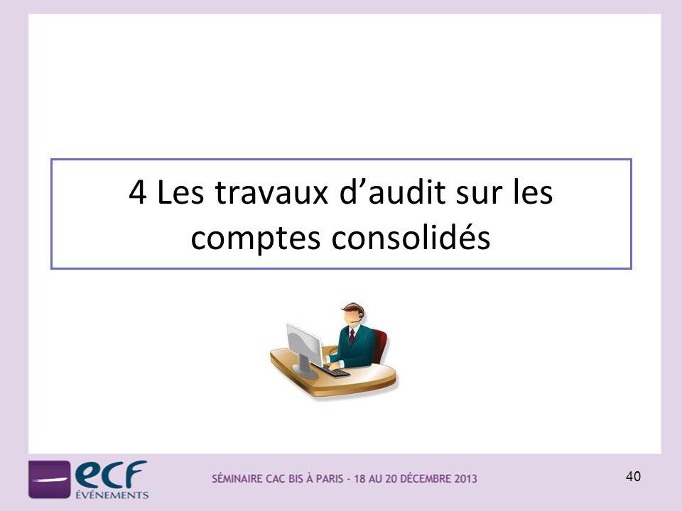 4 Les travaux d'audit sur les comptes consolidés