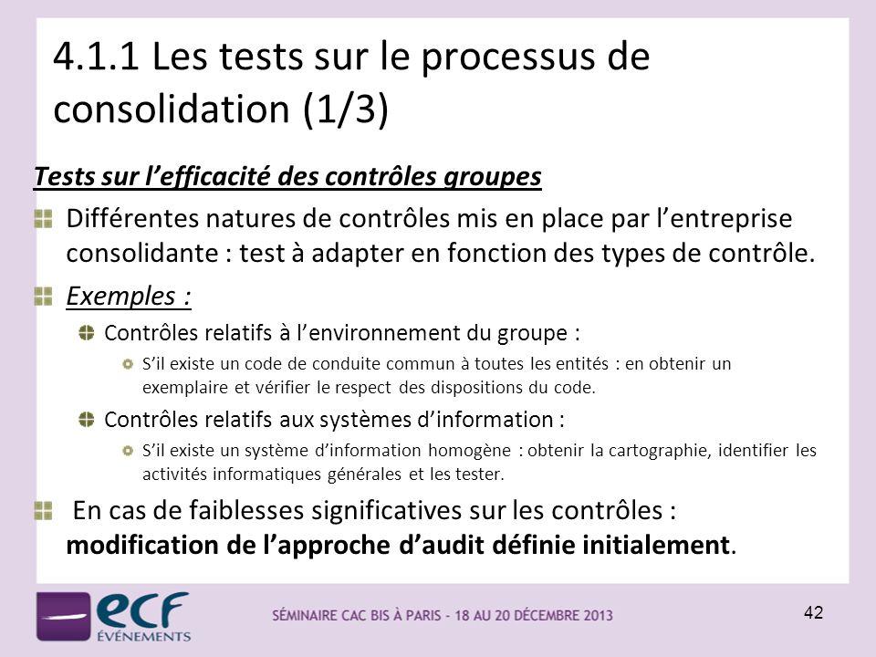 4.1.1 Les tests sur le processus de consolidation (1/3)