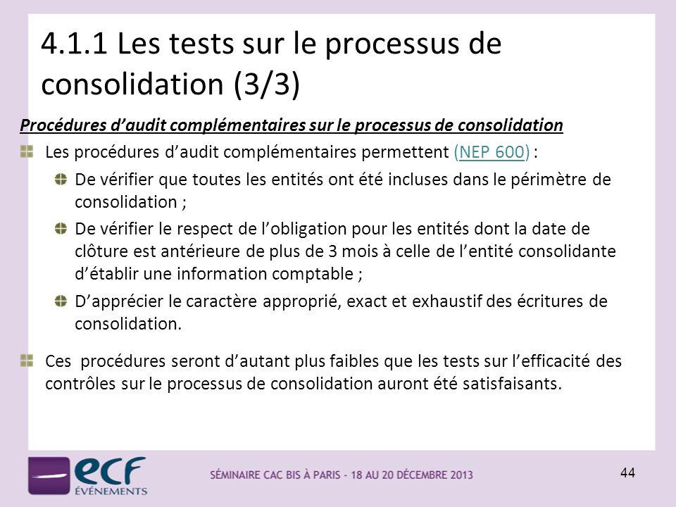 4.1.1 Les tests sur le processus de consolidation (3/3)