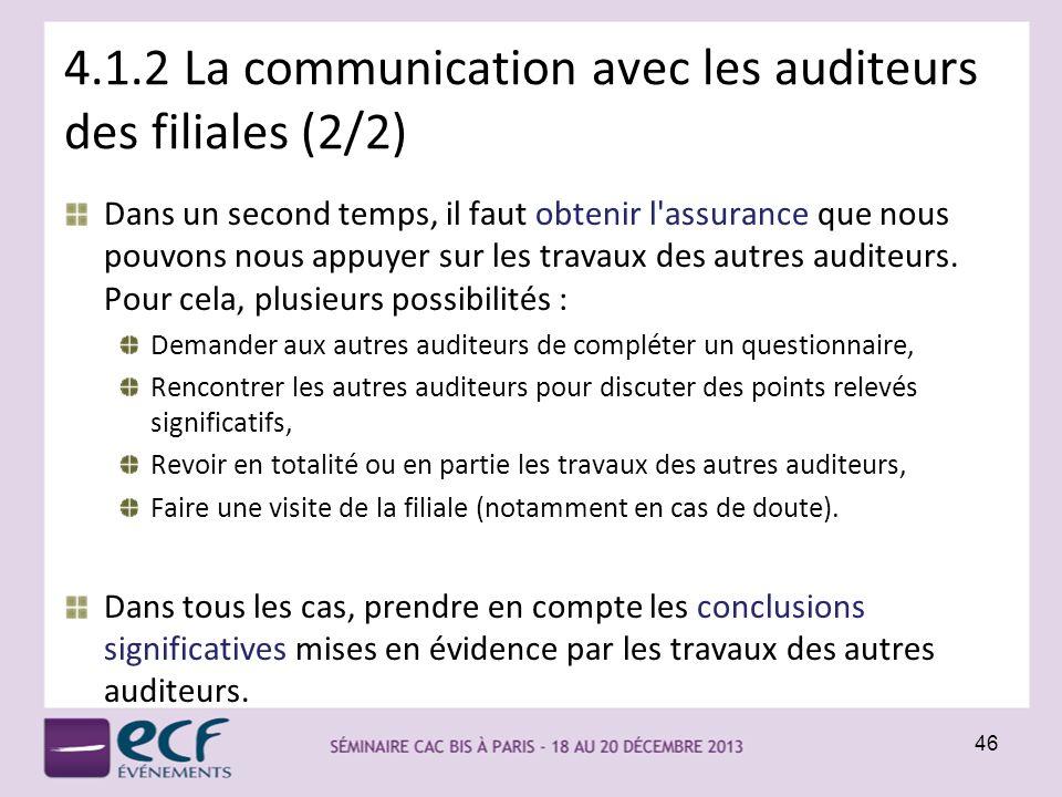 4.1.2 La communication avec les auditeurs des filiales (2/2)