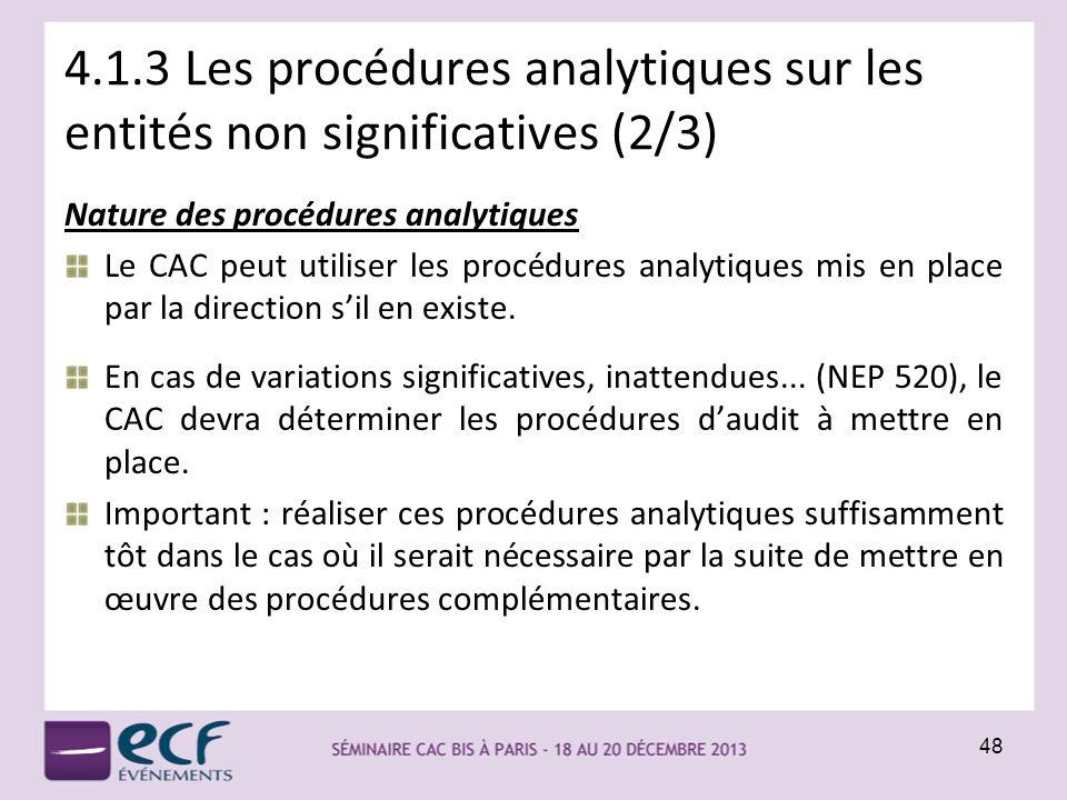 4.1.3 Les procédures analytiques sur les entités non significatives (2/3)