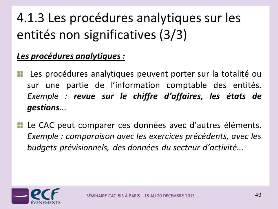 4.1.3 Les procédures analytiques sur les entités non significatives (3/3)