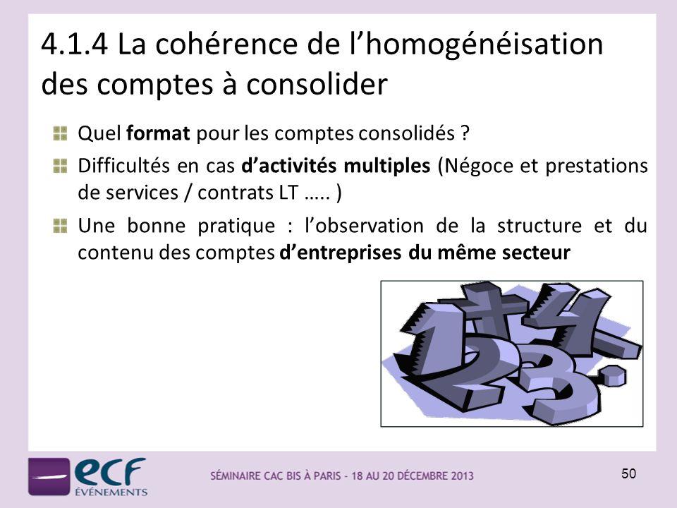 4.1.4 La cohérence de l'homogénéisation des comptes à consolider