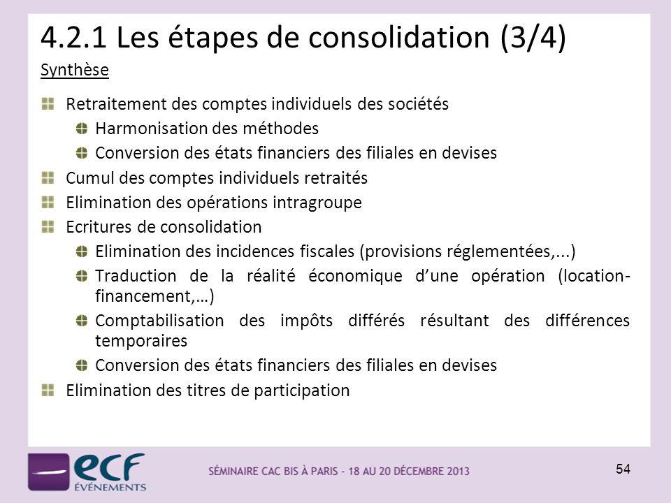 4.2.1 Les étapes de consolidation (3/4)
