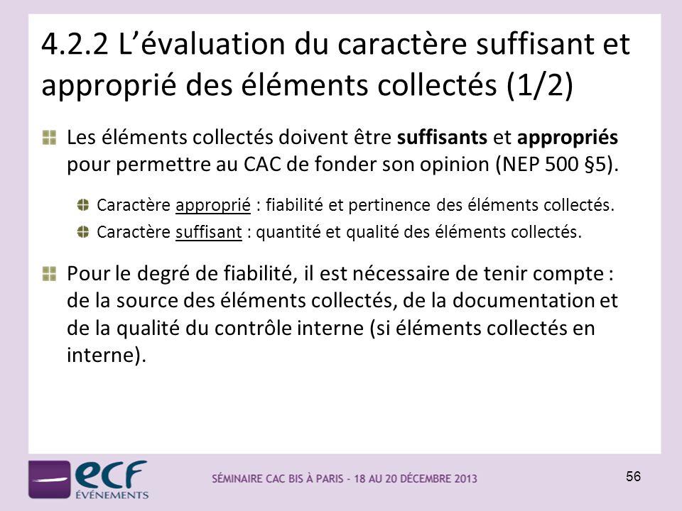4.2.2 L'évaluation du caractère suffisant et approprié des éléments collectés (1/2)